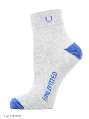 Носки спортивные 5 пар Unlimited. Цвет: серый меланж, синий