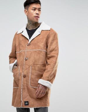 Sixth June Светло-коричневая куртка из искусственной цигейки. Цвет: рыжий