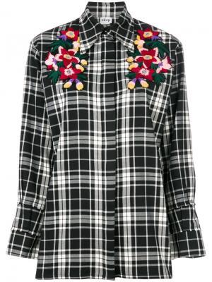 Рубашка в клетку с цветочной вышивкой Akep. Цвет: чёрный
