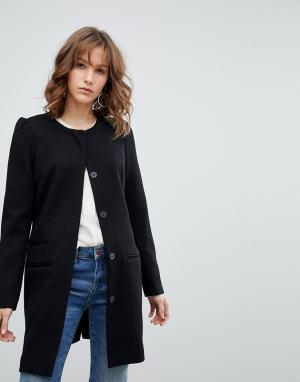 MbyM Приталенное пальто без воротника. Цвет: черный