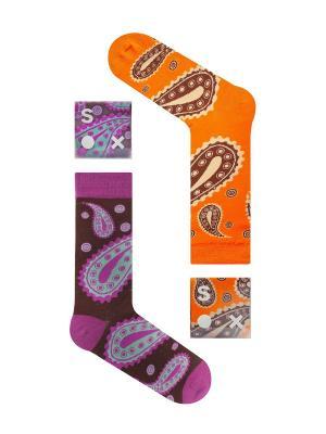 Набор Утренняя йога (2 пары вупаковке), дизайнерские носки SOXshop. Цвет: фиолетовый, оранжевый