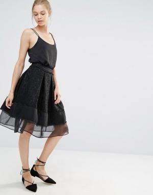 Endless Rose Кружевная юбка миди с сетчатой вставкой. Цвет: черный