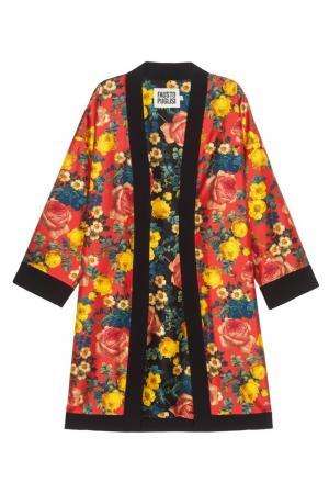 Шелковый халат Fausto Puglisi. Цвет: красный, желтый, черный