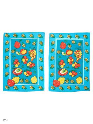 Набор полотенец вафельных кухонных Римейн. Цвет: голубой, красный