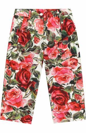 Хлопковые брюки свободного кроя с принтом Dolce & Gabbana. Цвет: розовый