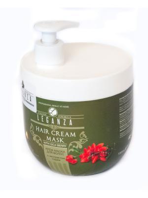Крем-маска для волос с экстрактом годжи 1000 мл Leganza. Цвет: зеленый