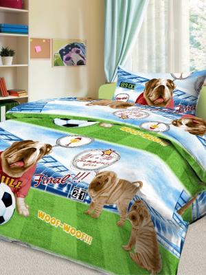 Детский комплект постельного Гол, 1,5-спальный, наволочка 50*70, хлопок Letto. Цвет: зеленый