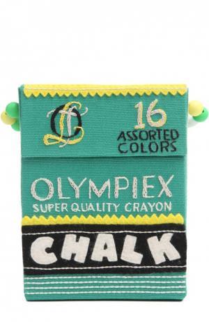Клатч в форме упаковки мелков с вышивкой Olympia Le-Tan. Цвет: зеленый