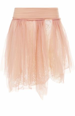 Кружевная пышная мини-юбка Deha. Цвет: бежевый