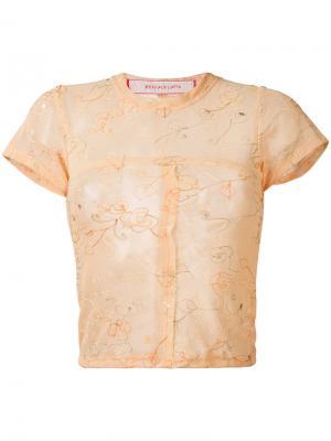 Сетчатая футболка с вышивкой Eckhaus Latta. Цвет: розовый и фиолетовый