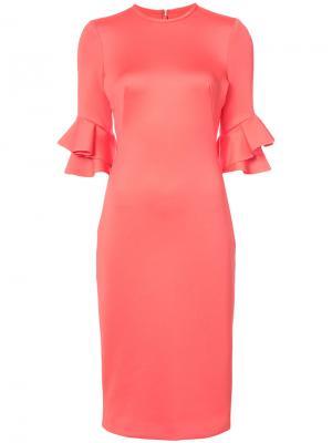 Ruffle sleeved dress Black Halo. Цвет: розовый и фиолетовый
