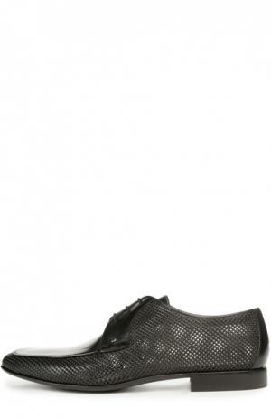 Дерби из перфорированной кожи Aldo Brue. Цвет: черный