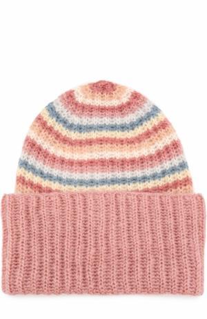 Вязаная шапка в полоску Tak.Ori. Цвет: розовый