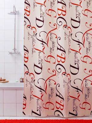 Штора для ванной Lettere Bacchetta. Цвет: черный, бежевый, красный