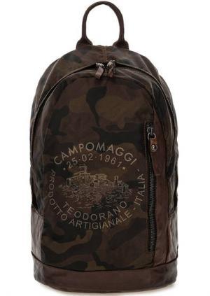 Текстильный рюкзак с камуфляжным принтом Campomaggi. Цвет: коричневый