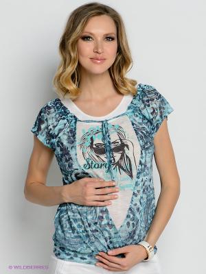 Блузка Gemko. Цвет: бирюзовый, белый