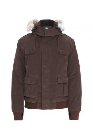 Велюровый пуховик с капюшоном и мехом койота 152463 Nobis. Цвет: коричневый