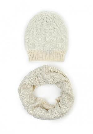 Комплект снуд и шапка Sabellino. Цвет: бежевый