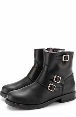 Кожаные ботинки с пряжками Il Gufo. Цвет: черный