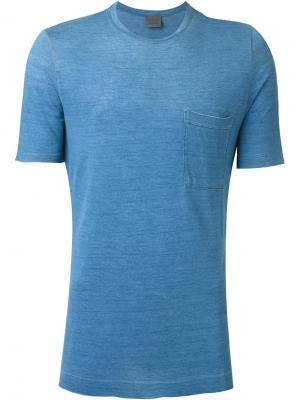 Футболка с карманом Laneus. Цвет: синий