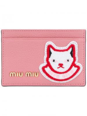 Визитница с логотипом и нашивкой-котом Miu. Цвет: розовый и фиолетовый