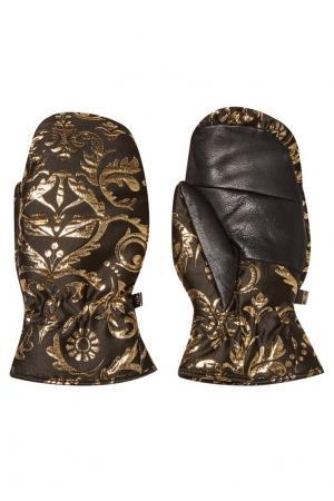 Перчатки из жаккарда с узорами Fendi. Цвет: коричневый