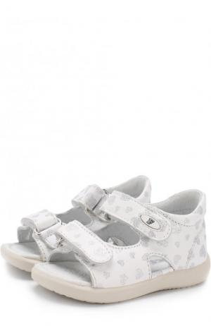 Кожаные сандалии с застежками велькро и глиттером Falcotto. Цвет: белый