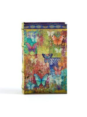 Шкатулка-фолиант Бабочка 17*12*6 см Русские подарки. Цвет: лазурный, морская волна, светло-зеленый, оранжевый