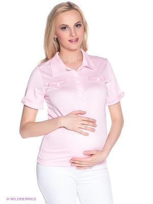 Футболка-поло для беременных 40 недель. Цвет: розовый