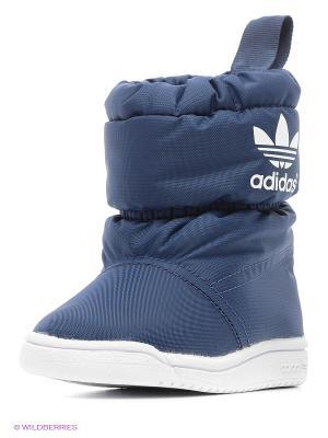 Дутики Adidas. Цвет: синий, белый