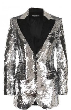 Приталенный жакет с пайетками Dolce & Gabbana. Цвет: серебряный