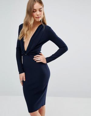 Bec & Bridge Платье с глубоким декольте и длинными рукавами Winkworth. Цвет: темно-синий
