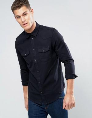 New Look Черная джинсовая рубашка классического кроя в стиле вестерн. Цвет: черный