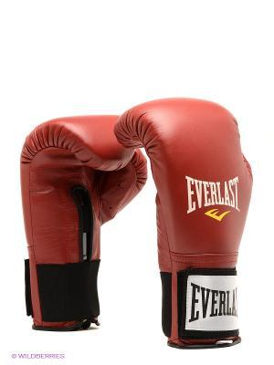 Перчатки тренировочные на липучке 16oz Everlast. Цвет: красный