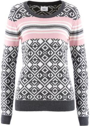 Пуловер (антрацитовый меланж с узором) bonprix. Цвет: антрацитовый меланж с узором