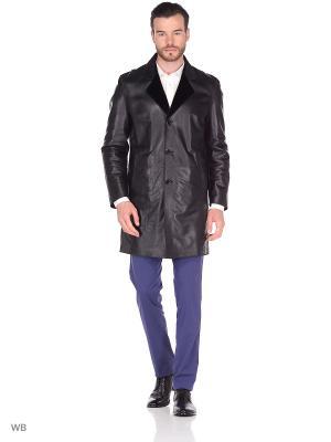 Кожаное пальто двустороннее MONDIAL. Цвет: черный