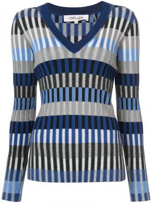 Striped V-neck jumper Diane Von Furstenberg. Цвет: синий