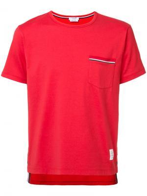 Футболка с нагрудным карманом Thom Browne. Цвет: красный