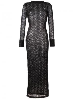 Длинное полупрозрачное вязаное платье Sibling. Цвет: чёрный