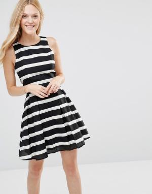 Greylin Платье в полоску Ava. Цвет: черный