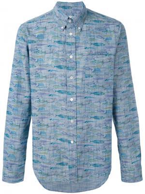 Рубашка на пуговицах с принтом рыб Bellerose. Цвет: синий