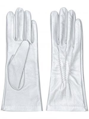 Облегающие перчатки Manokhi. Цвет: металлический