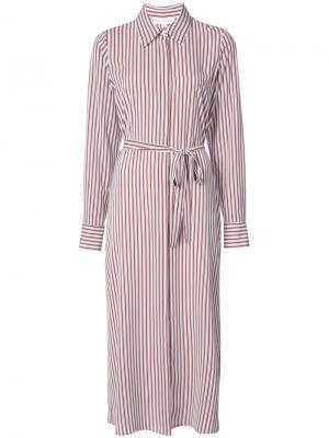 Полосатое платье-рубашка Robert Rodriguez. Цвет: красный