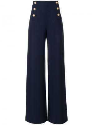 Широкие брюки с высокой талией Alberta Ferretti. Цвет: синий