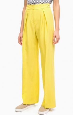 Широкие желтые брюки Stefanel. Цвет: желтый