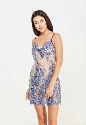 Комплект сорочка ночная и трусы Mia-Amore. Цвет: синий