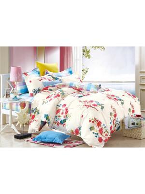 Постельное белье, евро 1st Home. Цвет: голубой, молочный, розовый