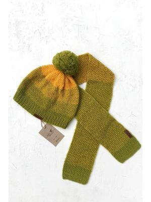 Комплект детский: шапка, шарф Sava. Цвет: желтый, салатовый