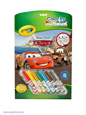 Раскраска по номерам Тачки Crayola. Цвет: белый, красный