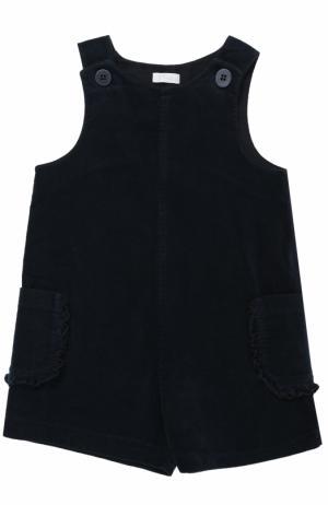 Хлопковый мини-комбинезон с накладными карманами и оборками Il Gufo. Цвет: синий